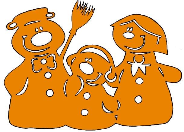 вытынанка снеговики